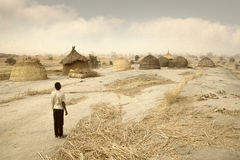 Mali, West Africa - Peul village and typical mud buildings. With barns for cereals, Fulani popolations Stock Photography