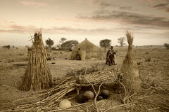 Mali, West Africa - Peul village and typical mud buildings. With barns for cereals, Fulani popolations Royalty Free Stock Photography