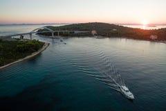 Mali Zdrelac bridge at sunset, Croatia Royalty Free Stock Photography