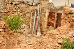 Malia的老部分的被破坏的房子 库存照片
