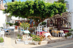 Malia的老部分的餐馆 免版税库存照片