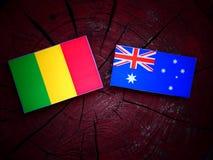 Malian flag with Australian flag on a tree stump isolated. Malian flag with Australian flag on a tree stump stock image