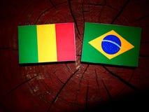 Malian flag with Brazilian flag on a tree stump isolated. Malian flag with Brazilian flag on a tree stump royalty free stock photos