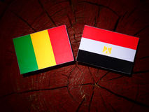 Malian flag with Egyptian flag on a tree stump royalty free stock images
