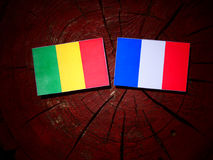 Malian flag with French flag on a tree stump isolated. Malian flag with French flag on a tree stump Stock Images