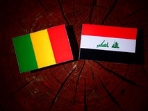 Malian flag with Iraqi flag on a tree stump isolated. Malian flag with Iraqi flag on a tree stump stock image