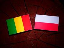 Malian flag with Polish flag on a tree stump isolated. Malian flag with Polish flag on a tree stump vector illustration
