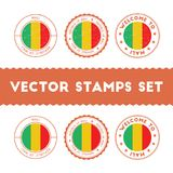 Malian flag rubber stamps set. Royalty Free Stock Photo