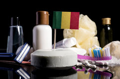 Malian flag in the soap with all the products for the people hyg. Iene Stock Image