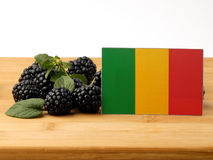 Malian flag on a wooden panel with blackberries isolated on a wh. Ite background Stock Images