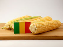 Malian flag on a wooden panel with corn isolated on a white back. Ground royalty free stock photography