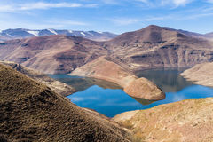 Malibamat`so River Reservoir, Lesotho. View from above the Malibamat`so River reservoir near Katsu Dam during the winter dry season in Lesotho; Water is a major royalty free stock images