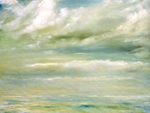 Malibu. Original Oil Painting of The malibu Beach shore Royalty Free Stock Photo