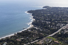 Malibu Aerial Point Dume and Paradise Cove. Aerial view towards Paradise Cove and Point Dume in Malibu, California Royalty Free Stock Images