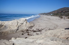 Malibu beach. Clear beach in Malibu, CA with blue sky Royalty Free Stock Image