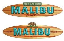 Malibu Beach California surfboard sign. Malibu Beach California PCH Surfboard Surfing wood sign vintage style beach boardwalk royalty free illustration