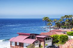Malibu Beach Homes California Coast. Malibu beach homes lining the pacific coast highway in sunny california Stock Photos