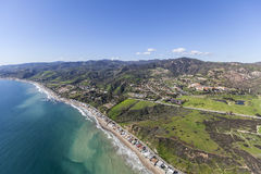 Malibu Beach Homes and Hills. Spring aerial view of Malibu beach homes and hillsides Stock Images