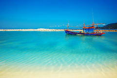 Malibu beach at Koh Phangan Island, Thailand. Malibu beach with boat at Koh Phangan Island, Thailand Stock Photos
