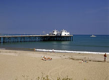 Malibu beach. With pier and boat Royalty Free Stock Photo