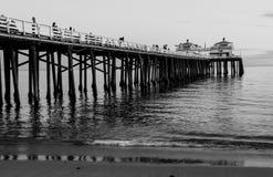Malibu Beach Pier. Monochrome image of the Malibu Pier on a winter day Royalty Free Stock Photography