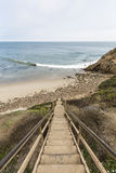 Malibu Beach Stairs at Dume Cove. Old beach stairs at Dume Cove in Malibu, California Royalty Free Stock Images