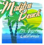 Malibu beach typography, t-shirt graphics, vectors. Fashion style Stock Photos