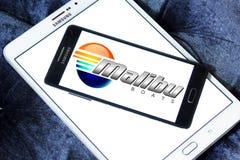 Malibu boats logo. Logo of boat and yacht manufacturer malibu on samsung mobile phone on samsung tablet Stock Image