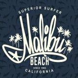 Malibu bränningtypografi, design för vektort-skjorta tryck Fotografering för Bildbyråer