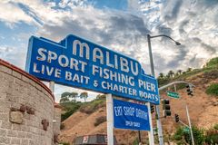 MALIBU, CA - AUGUST 1, 2017: Malibu fishing pier entrance. This. Is a major attraction for tourists Stock Images