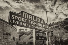 MALIBU, CA - AUGUST 1, 2017: Malibu fishing pier entrance. This. Is a major attraction for tourists Royalty Free Stock Photos