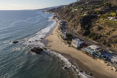 Malibu California Pacific Coast Aerial. Aerial of homes along Pacific Coast Highway in Malibu California Royalty Free Stock Photos