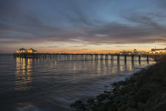 Malibu California Pacific Dusk. Pacific ocean dusk at Malibu Pier near Los Angeles, California Royalty Free Stock Image