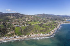 Malibu California Pacific Ocean Shoreline Aerial. Malibu California pacific ocean shoreline homes, bluffs and beaches Royalty Free Stock Photos