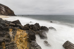 Malibu California Pirates Cove Rocks with Motion Blur Royalty Free Stock Image
