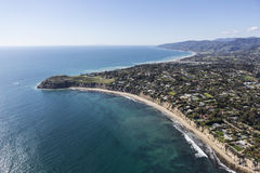 Malibu California Point Dume Aerial. Aerial view of ocean view homes and Point Dume State Park in Malibu, California Stock Photo