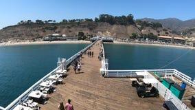 Malibu Pier aerial view stock footage