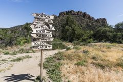 Malibu Creek State Park Restored. Malibu, California, USA - May 29, 2018:  Restored `Mash` movie set sign on display at Malibu Creek State Park Royalty Free Stock Photo
