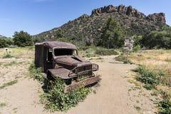 Malibu Creek State Park. Malibu, California, USA - May 29, 2018:  Old `MASH` television show ruined vehicle and prop sign on display at Malibu Creek State Park Stock Photos