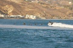 Malibu, California, USA - September 2016: Surfing people ride on the waves Stock Photo