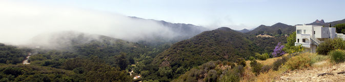 Malibu Canyon, Malibu, California. Early morning mist hangs over Malibu Canyon, Malibu, California (CA), USA Stock Images