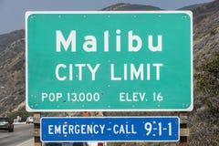 Malibu City Limit Sign. Malibu, California, USA - April 14, 2015:  Malibu city limit sign on busy Pacific Coast Highway in Southern California Stock Photo
