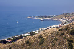 Malibu Coast. View of the south-facing Malibu coastline and Pacific Coast Highway looking west toward Malibu Point, Surfers Beach and the Malibu Pier Stock Photos