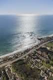 Malibu Coast Homes and Estates. Aerial view of beach front homes and estates in Malibu, California Stock Photography