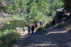 Malibu Creek State Park, CA United States -  May 5, 2019: Tourists and hikers at Malibu Creek State Park in Spring, 2019 stock photo