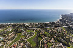 Malibu Estates Aerial Southern California. Aerial view of large pacific ocean view homes and estates in Malibu California Stock Images