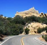 Malibu geology. Highway driving past sandstone geology, Malibu, CA Royalty Free Stock Images