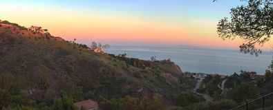 Malibu hillside. Above the Pacific Ocean coastline in California Royalty Free Stock Photo