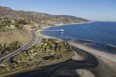 Malibu Lagoon and Surfrider Beach Aerial. Aerial of Malibu Lagoon, Surfrider beach and the Southern California coast Stock Image