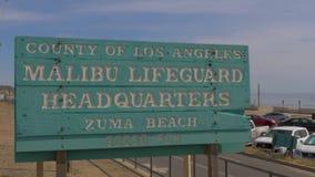 Malibu Lifeguards Headquarter at Zuma Beach - MALIBU, USA - MARCH 29, 2019 stock video footage